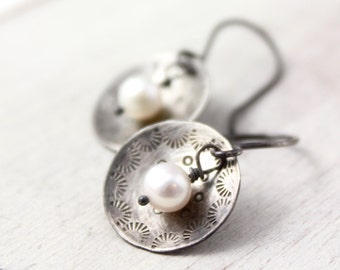 Stamped Silver and Pearl Oxidized Silver Earrings