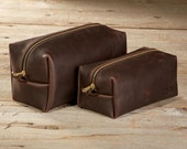 FREE SHIPPING Stone Oiled Leather Dopp Kit Travel Toiletry Shaving Bag with Free Monogram Gift for Dad Man