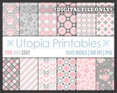 Pink And Gray Digital Paper Pack Set Kit Digiscrap Background Pattern Design Grey White Printable Commercial Use