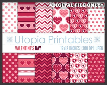 Valentine's Day Digital Paper Pack Pink White Hearts Theme Digiscrap Background Printable Commercial Use