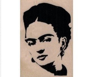 Banksy Frida rubber stamp face portrait woman   crafting scrapbooking supplies 19934 holzstempel