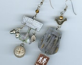 Hiker's hiking earrings - vintage backpack nature walk trail sign - woodland bird  acorn  mountain - mismatched earring designs by Annette