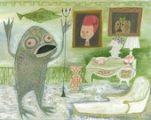 After returning home, Mr. Fishman missed the companionship of Margot and Fifi. Original painting by Matte Stephens.
