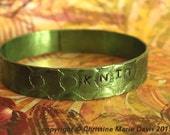 SALE Gifts for MOM knitters... Lime Green boho gypsy smashed aluminum knitting needle Bangle for knit chicks - Just KNIT it!!