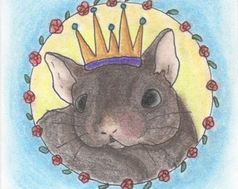 Pastel Mouse Art Painting, Small Whimsical Animal Nursery Art, Cute Animal Gifts, Rat Art, Unusual Gifts, Animal Decor, Small Pet Gift