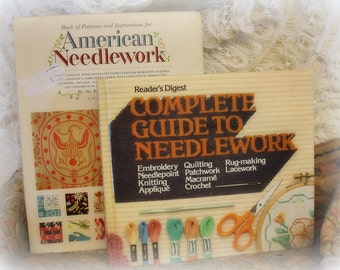 i like BIG books and i cannot lie 2 vintage needlework books . woman's day American Needlework AND reader's digest complete guide