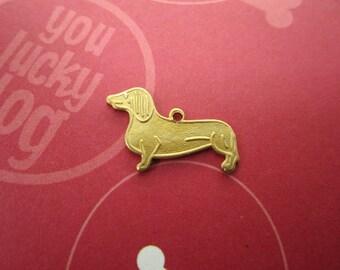 Dachshund Charm Pet Dog Supplies Brass Canine on Etsy-Quantity Choice