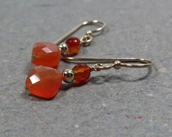 Carnelian Earrings Gold Orange Geometric Jewelry Orange Gold Filled Gift for Wife