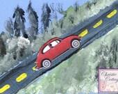 VW Bug, ACEO, Mixed Media Original Art, Red Slug Bug, Volkswagen