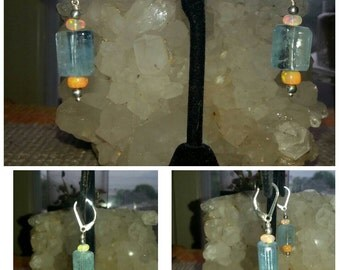 Sterling Silver, Aquamarine, and Ethiopian Opal Earrings