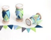 Sea Glass Green, Gray, Blue, Tan Mix. Beach cottage bunting.  Fabric Cake Mini Bunting. Wooden Spool of Ribbon for gift wrapping.
