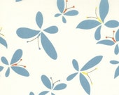 SALE Moda Chrysalis by Sanae Release Cream Turquoise cotton Fabric by the yard 32422-15