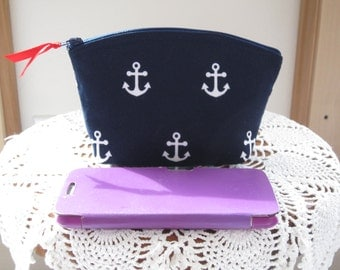 Nautical Navy White Anchors Essential Oil Case  Cosmetic Bag Clutch Zipper Wedding, Bridal, BridesmaidPurse  Made in the USA