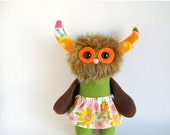 ON SALE Monster Girl Doll Stuffed Animal Plush Toy Handmade Rag Doll Girls Skirt Orange Eyes Sage Green Dark Brown