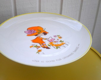 "Upcycled Cake Plate. Vintage Collectible ""Love Is Good for Growing Things"" Mopsie, 1973, Worldwide Arts, Inc. Retro Cupcake Platter / Stand"