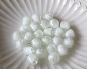 White Glow in the Dark Lampwork Glass Beads 12mm (25)