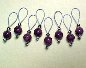 Violet Fossil Gemstone Bead Stitch Markers On Lavender Wire - US 5 - Item No. 507