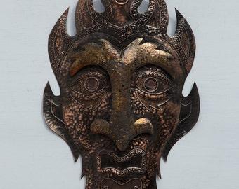 Copper God - mask 5 : Metal Wall sculpture art by Peter Dumans