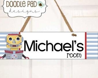 Robot Door Sign, Personalized Door Sign, Kids Name Sign