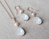 Swarovski Crystal White Pearl White Opal Rose Gold Teardrop Dangling Earrings Necklace Bridal Jewelry Set Wedding Bridesmaids Gifts