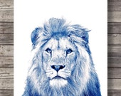 Blue Lion art print   Cute Lion face   Sepia Lion photo   Printable wall art   Safari decor   Jungle animals decor   African animals