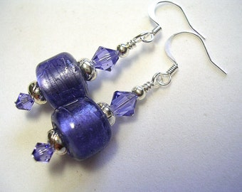 Purple Earrings Silver Foiled Lampwork Tanzanite Swarovski Crystals Silver Plate French Hooks Wire Wrapped Silver Purple Dangle Earrings