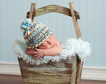 Little Cowboy Loopy Baby Hat Photography Prop Ready to Ship