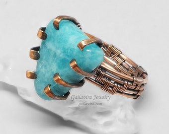 Blue Stone and Copper Wire Wrapped Ring
