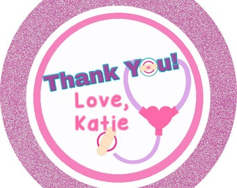 Doc McStuffins inspired theme thank you tags, favor tags, gift tags - set of 24