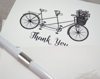 Bicycle for Two  Thank you cards, Wedding thank you cards, Folded Thank You Notes - Set of 5