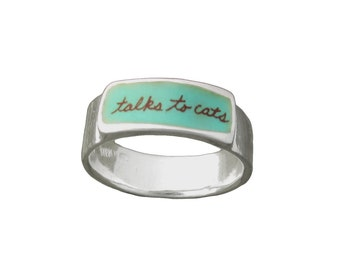 Talks to Cats Band Ring - Sterling Silver and Vitreous Enamel Cat Ring - Ring for Cat Lovers
