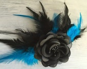 Rocker Rose - Black Rose and Electric Turquoise Feather Fascinator / Head Piece