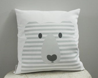 Pillow cover bear grey 18 inch 18x18 modern hipster accessory home decor nursery baby gift present zipper canvas ready to ship