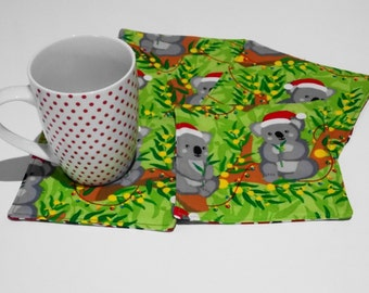 Australian koala coasters for Christmas, mug rugs, set of 4,  Santa koalas, reversible fabric coasters