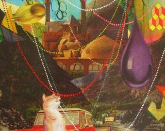 SALE-Maureen Shields Cat & Ford Truck Landscape-Archival Print