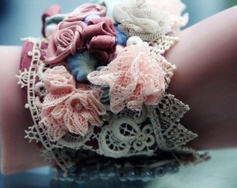 Bracelet Cuff Hand Stitched vintage fabrics and lace  'VICTORIAN TEA PARTY' wrist wrap part of my 'This Old Shack' Collection