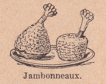 old french dictionary illustration of two hams, vintage printable digital image no. 1079.