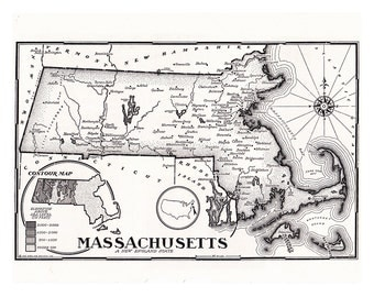 map of Massachusetts from the 1950's, a printable digital download for a unique gift, and home decor, collage sheet no.  584