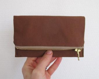 Rust iPhone wallet, simple vegan smartphone clutch, warm brown