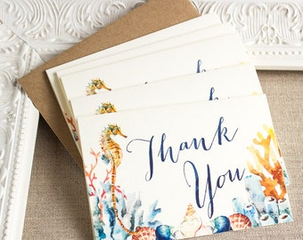 Watercolor Seahorse Thank You Notes Set of five