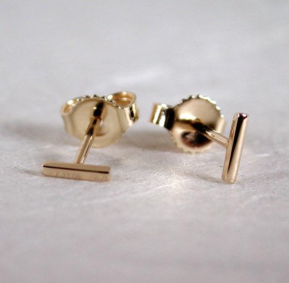5mm x 1mm Tiny Bar Gold Earrings Thin Minimal Studs 14k Yellow Gold Staple Earrings Skinny Mini Bar Studs by Susan Sarantos