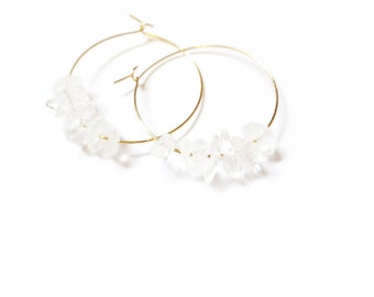 crystal quartz gold hoop earrings