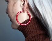 epilogue red oversized hoop earrings / colorblock earrings / large hoop earrings / 866a