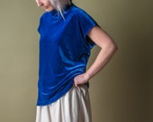 age of innoncence royal blue velvet boxy blouse / turteneck top / s / 986t