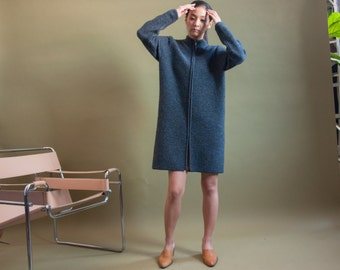 dark gray wool knit dress / zip mini dress / cardigan sweater dress / wool dress / s / 1822d