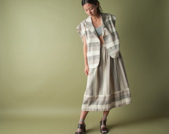 en reve striped skirt set / boxy jacket / full skirt / s / m/ 220o