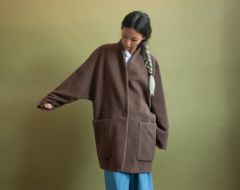 italian cashmere wool kimono coat / brown midi coat / minimalist oversized coat / s / m / 2013o / R4