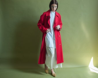 red wool military trench coat / trench style long coat / vintage colorblock coat / m / l / 1000o / R4