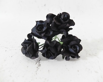 5 30mm black mulberry paper gardenia with wire stems - 3 cm