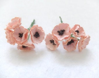 10 Mulberry peach orange paper poppy - paper flowers - peach orange paper flowers